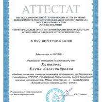 Кашапова Елена Александровна Аттестат